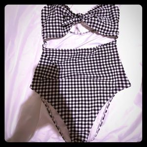 Black and white plaid classic bathing suit